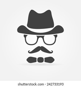 Hipster style of face silhouette - vector fashion vector icon or avatar