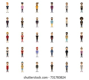 Hipster style man, character set collection-vector illustration.