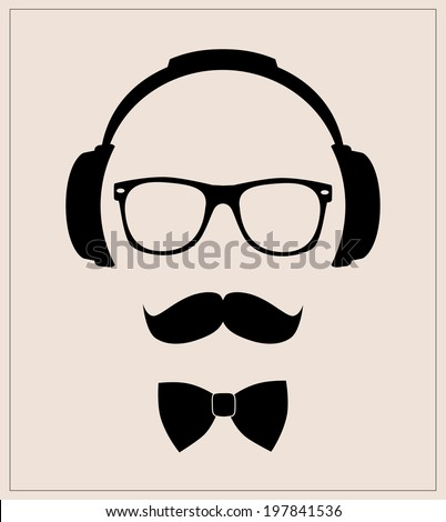 Hipster Style Set Bowtie Glasses Mustaches Stock Vector (Royalty ...