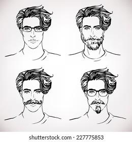 Hipster Style: trendy fashion men. Sketch character set Vector illustration.
