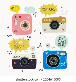 Hipster style vector illustration of hand drawn photo cameras and photography words. Cute 80s 90s nostalgic set and inscription. Great design elements for sticker, blog, print or poster.