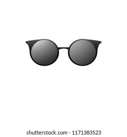 Hipster sunglasses with dark glass on a white background. Vector isolated picture.