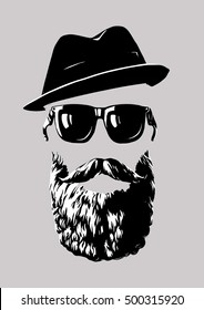 Hipster with sunglasses and a hat. Logo, abstract set, line drawing. Vector illustration.