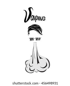 hipster with sunglasses . smokes and produces steam, smoke cloud. Vaping. Vector illustration isolated on white vector background. Print for t-shirt