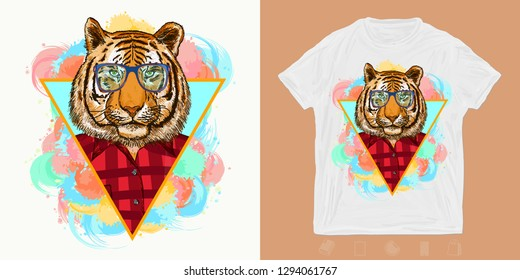 Hipster tiger, fashion animals. Print for t-shirts and another, trendy apparel design