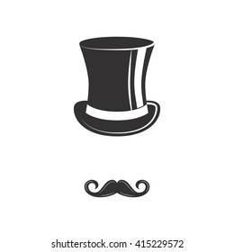 Hipster. Top hat  with mustache. Happy father day.