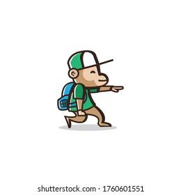 Hipster travelling monkey logo mascot