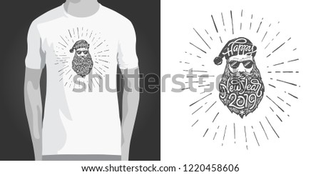 b7dc4f36c Hipster T-shirt print design with illustration of bad Santa in sunglasses. Creative  clothing
