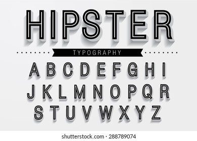 Hipster typography/font vector