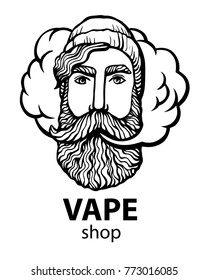 Hipster with vape and cloud. isolated vaper men on white vector background. Hand-drawn hipster dude with mustache and beard. Electronic Cigarette. Vector. Stickers, logo, Emblem