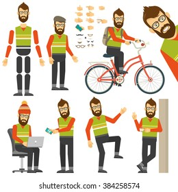 Hipster in various positions in flat style. Constructor for any human poses. Bearded man on bicycle.