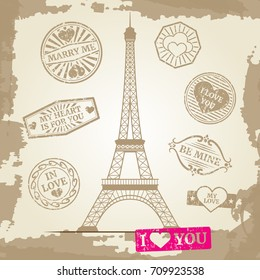 Hipster or vintage postcard background - Eiffel Tower with love prints. Vector illustration