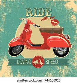 """Hipster vintage print with red retro bike. """"Ride with me"""" quote"""