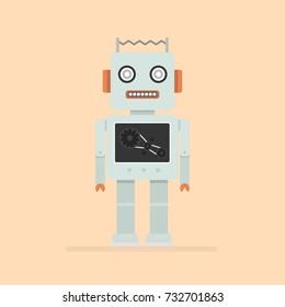 Hipster vintage robot. Retro robot.