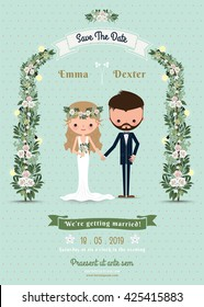 Hipster wedding invitation card bride & groom cartoon beach theme on polka dot background