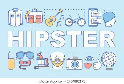 Hipster word concepts banner. Contemporary subculture. Style accessories. Fashion following. Presentation, website. Isolated lettering typography idea with linear icons. Vector outline illustration