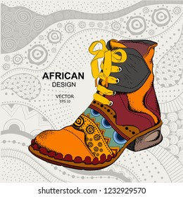 Hipster youth shoes. Ethnic boot. African design. Vector illustration