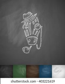 hipster zebra icon. Hand drawn vector illustration