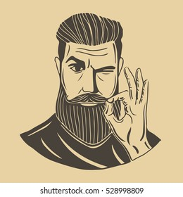 Hipster.A bearded man shows gesture Ok. This illustration can be used as a print on t-shirts and bags, stationary or as a poster.