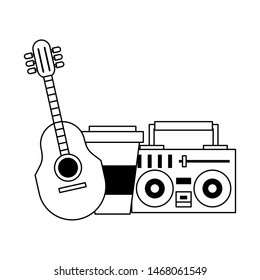 hipsters accessories for the holidays and guitar coffee cup and stereo isolated Vector design illustration