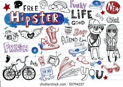 Hipsters doodle set