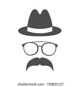 hipsters with hat, mustache, beard. Silhouettes, emblems, icons, labels vector illustration