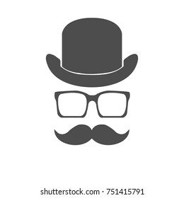 hipsters men face style with hat, beard and glasses vector illustration