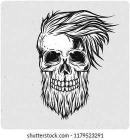 Hipster's skull. Black and white illustration. Isolated on light backgrond with grunge noise and frame.