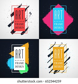 Hipsters style Frames with free space for text and hand-drawn brushes strokes. Vector abstract concepts of gift card design, brochure, flyer, invitation or music album art.
