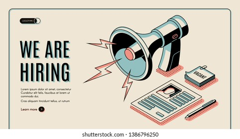 Hiring agency, job vacancies search online service isometric vector web banner, landing page template with job applicant, vacancy candidate resume or dossier page, loudspeaker line art illustration