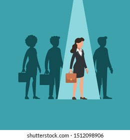 Hiring employee concept. Female manager standing in light spot in group of people. Talented woman professional candidate in lightspot. HR recruiting competition. Flat  vector business illustration.