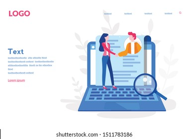 Hiring employees Concept,  Human Resources, Recruitment, Online Interview for web page, banner, presentation, social media. Vector illustration. People Searching Job, Recruitment Agency