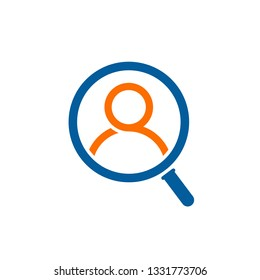 Hiring icon. Human in magnifier vector logo concept. Search people service
