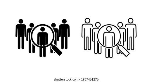 Hiring icon set. Search job vacancy icon. Human resources concept. Recruitment