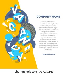 Hiring people concept. Vector creative abstract illustration of 3d vacancy word lettering typography with decor element, text on color background. Isometric search of employees design for business we