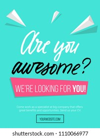"Hiring poster design concept with pink and blue colors and lettering inscription ""are you awesome"" Business hiring and recruiting template. Vector illustration."