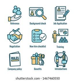 Einstellungsprozess-Symbol mit den Vorteilen, Hintergrundüberprüfung, Einführung usw.