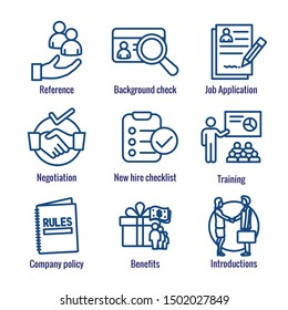 Hiring Process icon set w Benefits, background check, introductions, etc