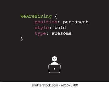 Hiring programmer, developer, a coder for job concept. Banner template, ads, search for engineers, employees