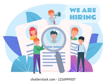 Hiring, recruiting personnel. Staff resumes, search for people. Poster for web page, banner, social media, presentation. Flat design vector illustration