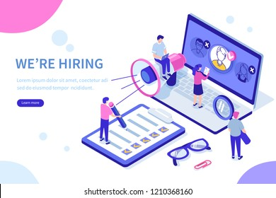 Hiring and recruitment concept with characters. Can use for web banner, infographics, hero images. Flat isometric vector illustration isolated on white background.