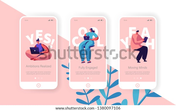 Hiring and Recruitment Concept for Website or Web Page. People Searching Job, Online Interview, Recruitment Agency Service Template, Mobile App Page Onboard Screen Set Cartoon Flat Vector Illustration
