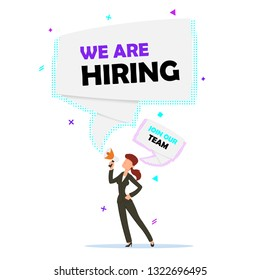 Hiring recruitment design poster. Vector illustration. Open vacancy design template.