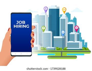 Hiring and recruitment, job candidates and job centre concept. Job interview, recruitment agency. HR job seeking.