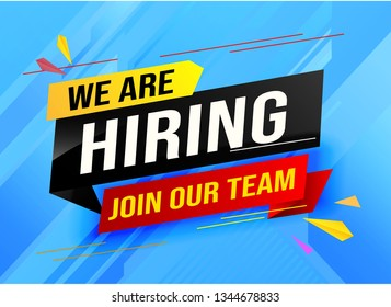 hiring recruitment Join now design for banner poster. megaphone We are hiring lettering with geometric shapes lines. Vector illustration typographic. Open vacancy design template modern concept
