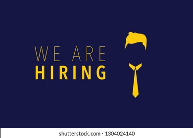 Hiring and recruitment poster or banner vector concept in mimimalist style with tie and glassses. Symbol of vacancies, job offers, career development, job advertisement. Eps10 vector illustration.
