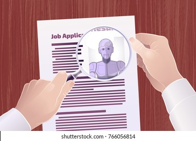 """Hiring Robot For A Job Position. Vector illustration on the subject of """"Technological Displacement Of Jobs / Robotization""""."""