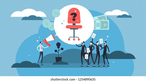 Hiring vector illustration. Mini persons crowd with CV for job recruitment. Business employee interview for company vacancy research. Money opportunity for unemployment applicant. Headhunting service.