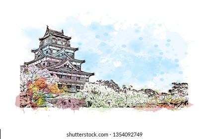 Hiroshima Castle, sometimes called Carp Castle, is a castle in Hiroshima, Japan. Watercolor splash with Hand drawn sketch illustration in vector.