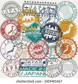 Hiroshima Japan Set of Stamps. Travel Stamp. Made In Product. Design Seals Old Style Insignia.